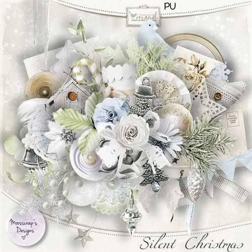 Рождественский винтажный скрап-набор - Тихое Рождество