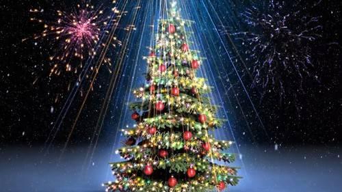 Футаж - Салют на новогодней елке