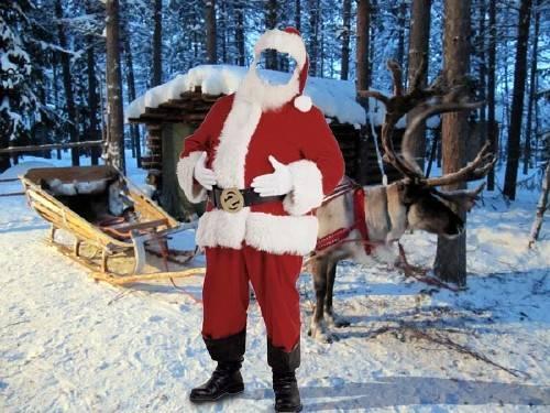 Photoshop шаблон - Дед Мороз и сани