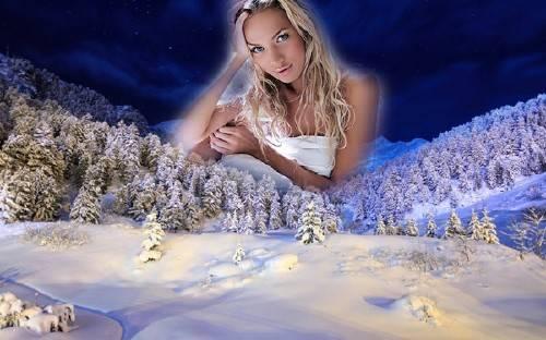 Фоторамка - Вечерний зимний лес