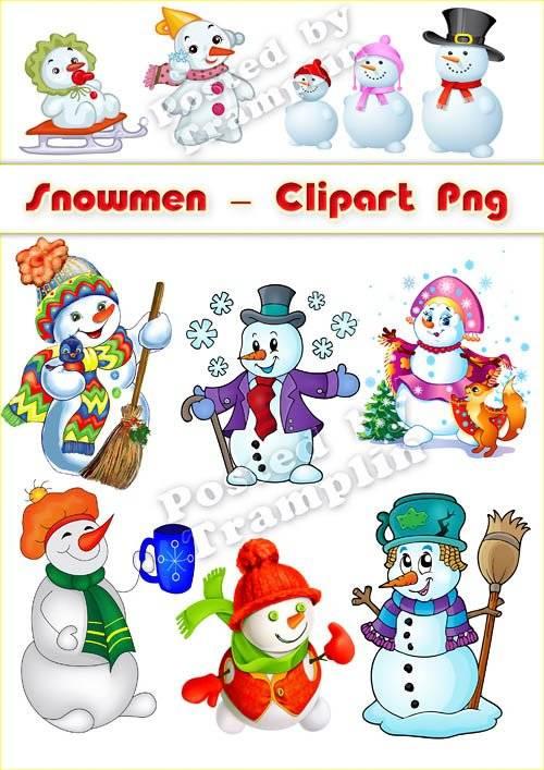 Снеговики - Новогодний клипарт в Png