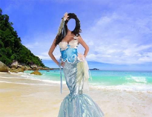 Шаблон для фотошопа - Русалка на берегу моря