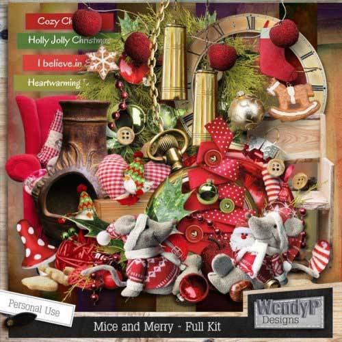 Новогодний скрап-комплект - Mice and Merry