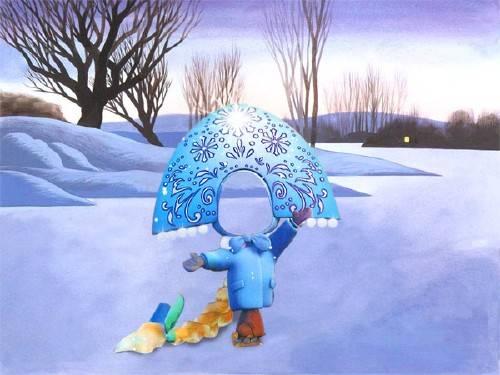 Шаблон для малышей - Маленькая снегурочка