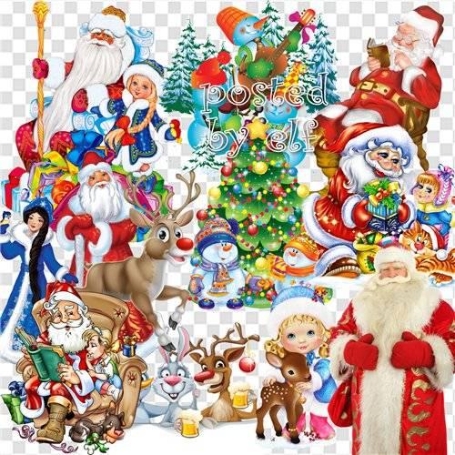 Клипарт новогодний в png формате с веселыми изображениями деда Мороза, снег ...