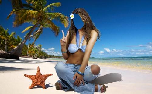 Женский шаблон - Где-то в жарких странах на пляже