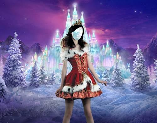 Женский фото шаблон - Костюм принцессы снежного королевства