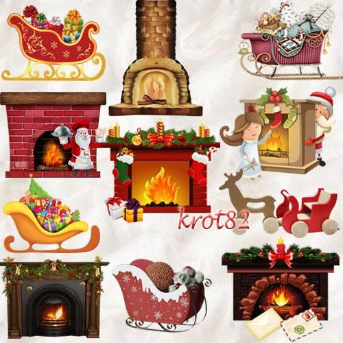 Кластеры на прозрачном фоне  – Новогодние, рождественские камины и санки Де ...