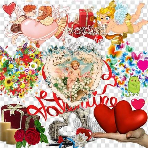 Коллекция к дню Валентина - клипарт без фона