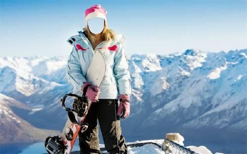 Шаблон для фотомонтажа - Катание на сноуборде