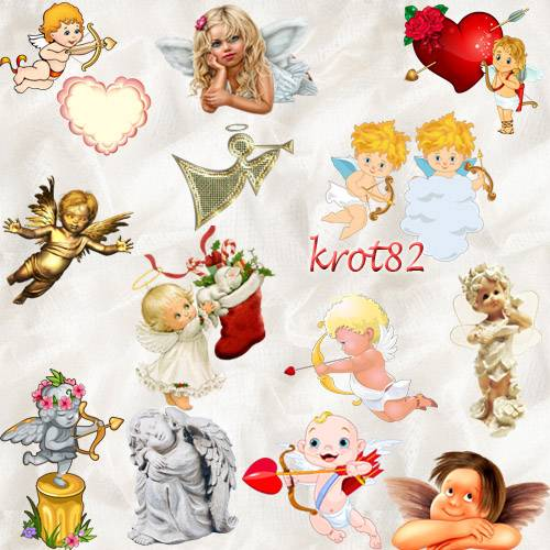 Клипарт ангелы и ангелочки ко Дню Светового Валентина, на день влюбленных,  ...
