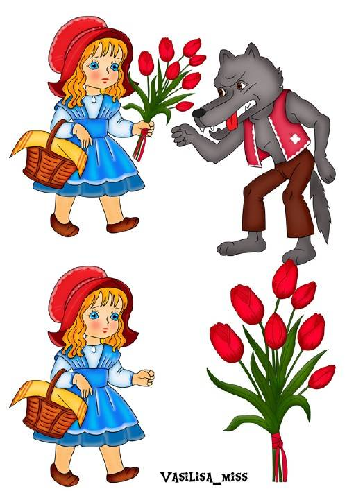 Отрисовки Красная шапочка и серый волк