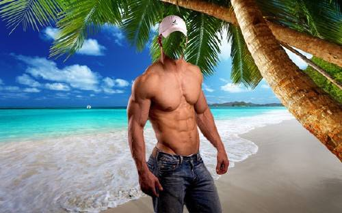 Мужской шаблон - Качок у моря