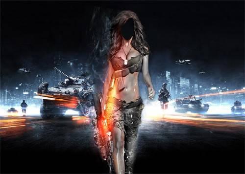 Photoshop шаблон - Опасная девушка
