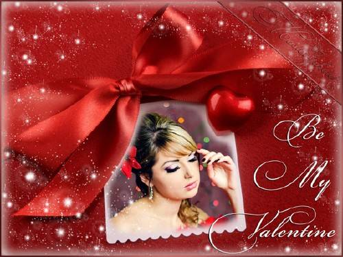 Романтическая рамка для фотошопа - Будь моей валентинкой