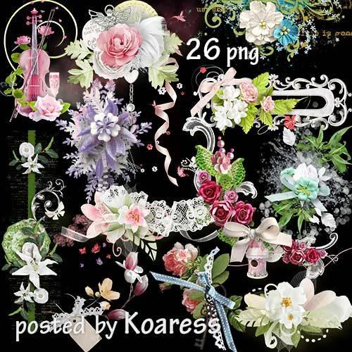 Подборка цветочных кластеров и бордюров в png - Весенние цветы