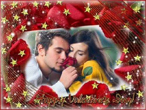 Романтическая рамка для фотошопа - С праздником влюбленных