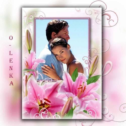 Рамка для фотошопа - Дивные лилии