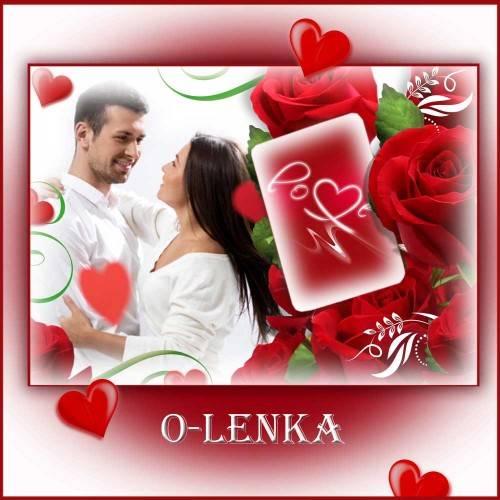 Фоторамка для влюбленных - Алые розы