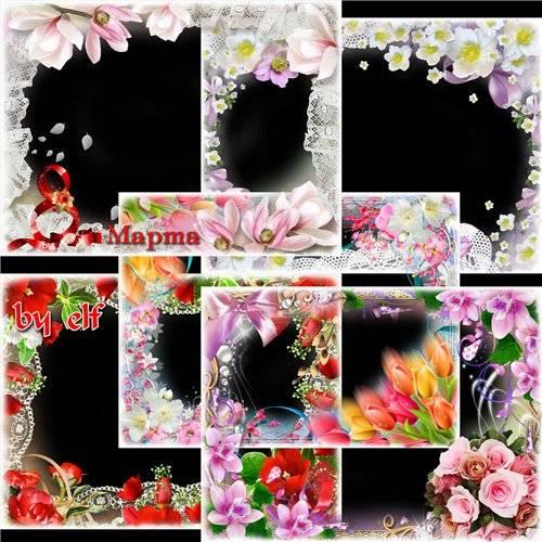 Набор из 6 поздравительных рамок для фото - С днём 8 Марта