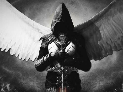 Шаблон женский - Ангел с мечом