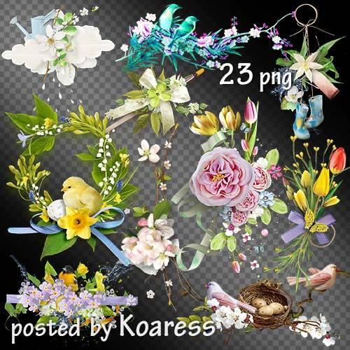 Подборка png кластеров с весенними цветами и птицами на прозрачном фоне