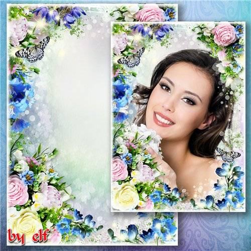 Яркая цветочная рамка для фото - А в воздухе пахнет весной