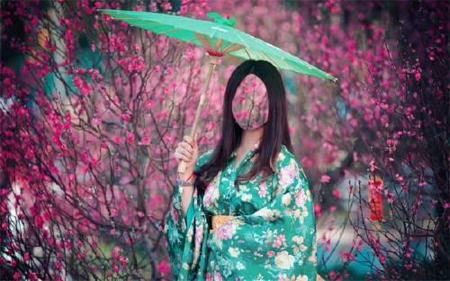 Женский фото шаблон - Девушка в кимоно