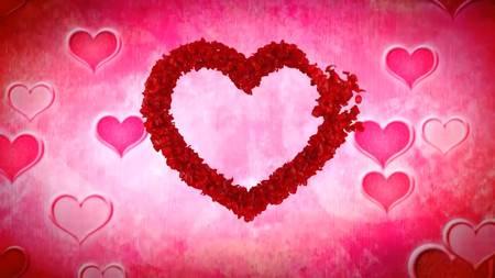 Футаж - Сердце из лепестков роз