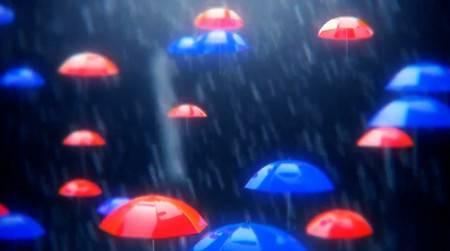 Футаж - Зонтики под  дождём