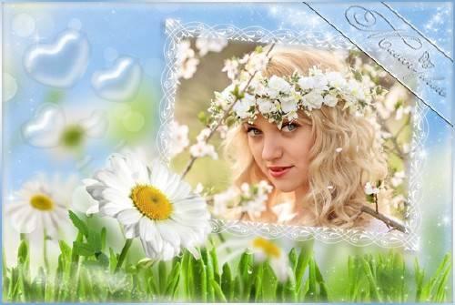 Романтическая рамка для фотошопа - Ромашковое счастье
