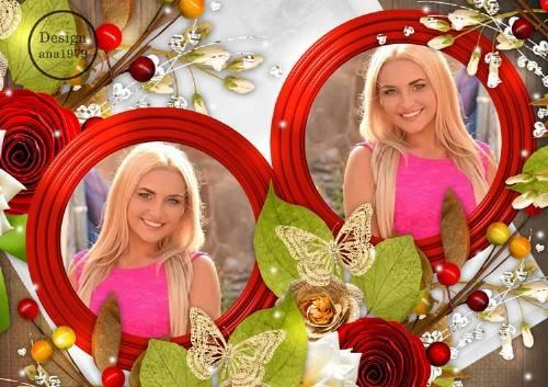 Рамка для фотошопа – Красные розы и золотые бабочки