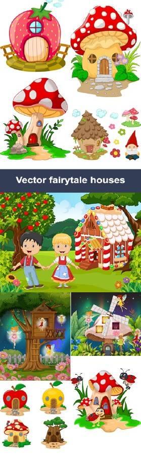 Векторный клипарт сказочные домики| Vector clipart fairytale houses