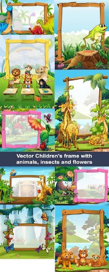Векторные детские рамки с животными, насекомыми и цветами