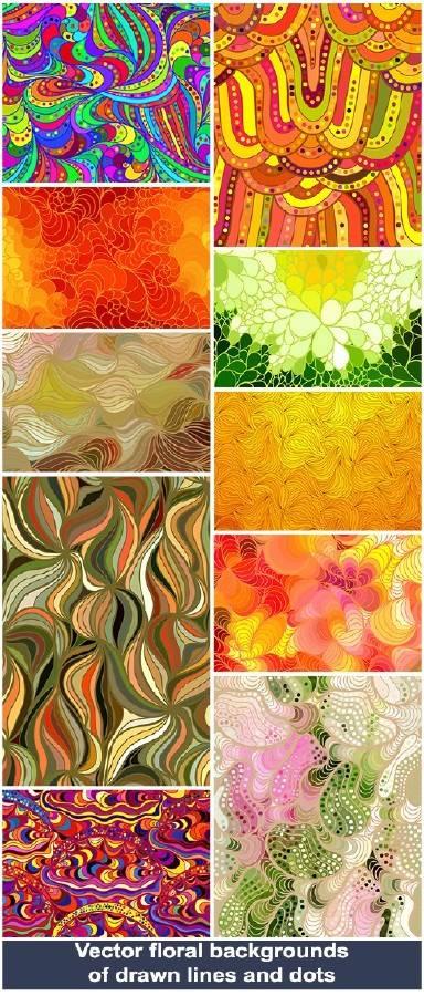 Векторные цветочные фоны из нарисованных линий и точек