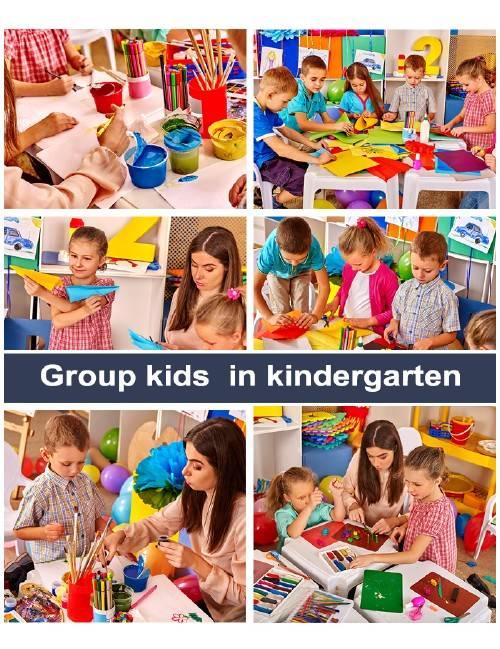 Группа детей занимающихся творчеством  в детском саду