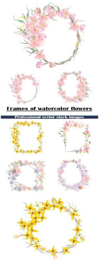 Рамки из акварельных цветов