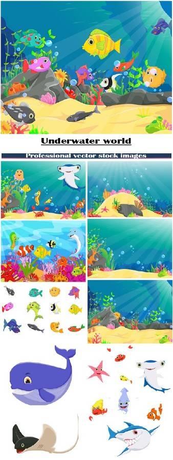 Иллюстрации подводного мира с кораллами и рыбами