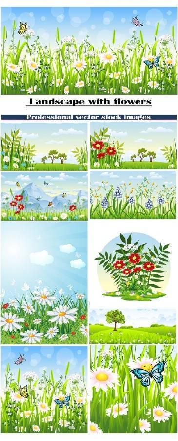 Пейзажи с цветами
