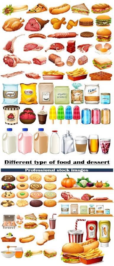 Различные типы пищи и десерт