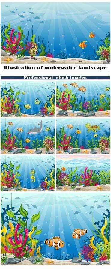 Иллюстрации подводного ландшафта