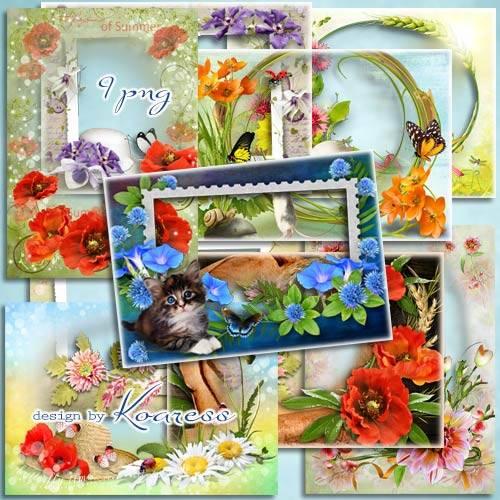 Сборник цветочных рамок для фотошопа - В ожидании лета