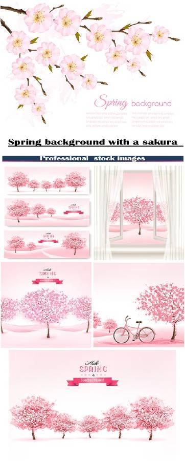 Весенние фоны с цветущей сакурой