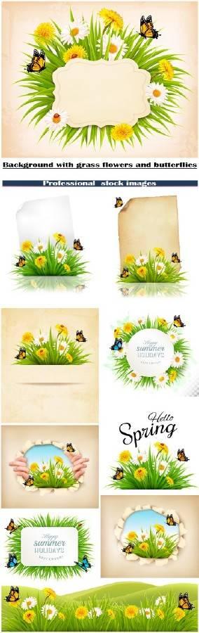 Фоны с травой, цветами и бабочками