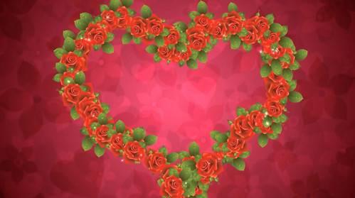 Футаж - Сердце из красных роз с мерцающими огоньками