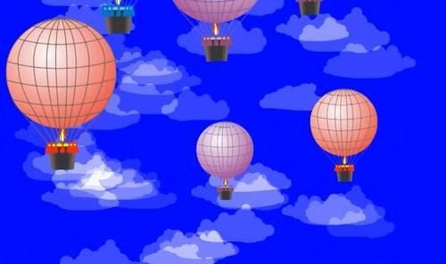 Футаж на хромакее - Воздушные шары в облаках