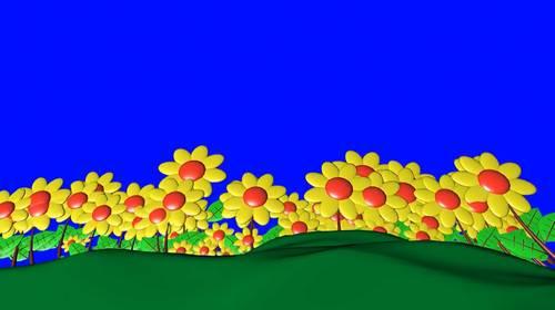 Футаж на хромакее - Цветочная поляна
