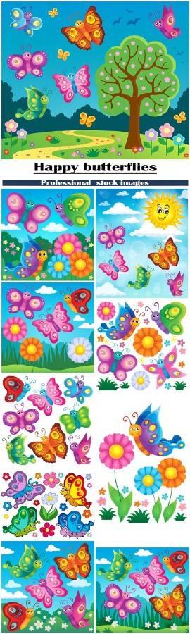 Векторный клипарт счастливые бабочки