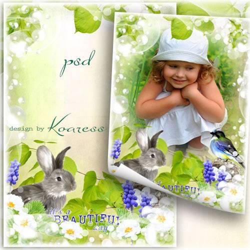 Детская рамка для фотошопа с зайчиком и птичкой - Весенний денек