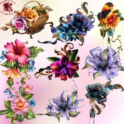Клипарт – Цветы Barnali Bagchi  часть 2